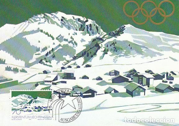 LIECHTENSTEIN IVERT 680, JUEGOS OLIMPICOS DE LAKE PLACID DE 1980, TARJETA MAXIMA DE 6-12-1979 (Sellos - Temáticas - Olimpiadas)
