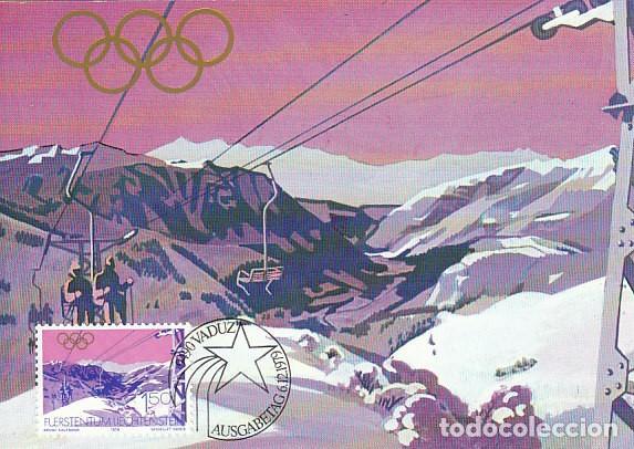 LIECHTENSTEIN IVERT 681, JUEGOS OLIMPICOS DE LAKE PLACID DE 1980, TARJETA MAXIMA DE 6-12-1979 (Sellos - Temáticas - Olimpiadas)