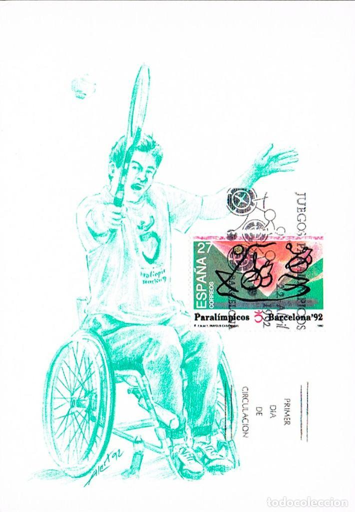 EDIFIL 3192, JUEGOS PARALIMPICOS, TARJETA MÁXIMA PRIMER DÍA DE 22-4-1992 (Sellos - Temáticas - Olimpiadas)