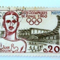 Sellos: SELLO POSTAL FRANCIA 1960, 0,20 F , JEAN BOUIN JUEGOS OLIMPICOS DE ROMA 1960, USADO. Lote 231407450