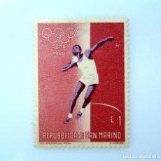 Sellos: SELLO POSTAL SAN MARINO 1960 ,1 ₤, JUEGOS OLIMPICOS DE ROMA, LANZAMIENTO DE BALA, SIN USAR. Lote 233931885