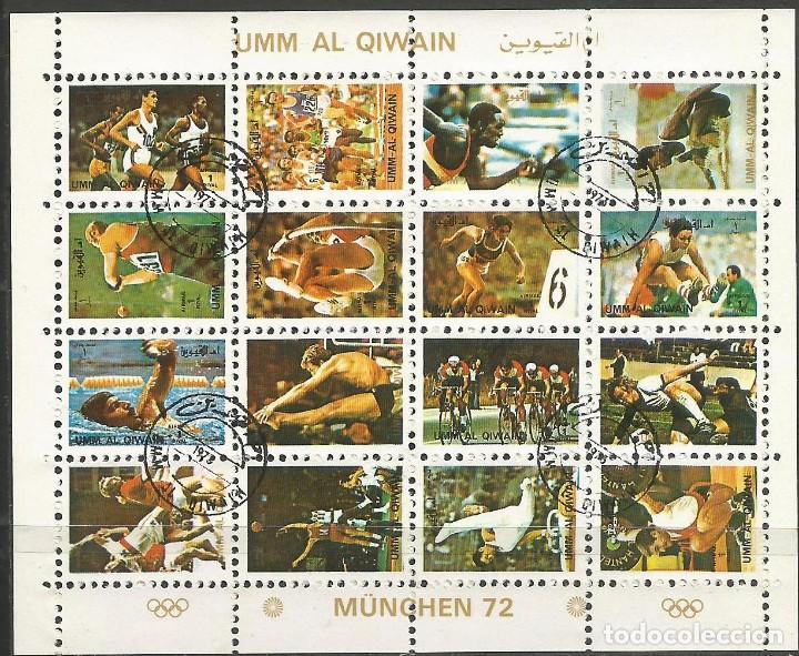 UMM AL QIWAIN - 1973 - BLOQUE DE 16 SELLOS DE LA OLIMPIADA DE MUNICH 1972 - SELLADO (Sellos - Temáticas - Olimpiadas)
