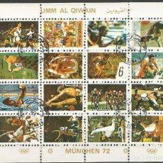 Sellos: UMM AL QIWAIN - 1973 - BLOQUE DE 16 SELLOS DE LA OLIMPIADA DE MUNICH 1972 - SELLADO. Lote 236418620