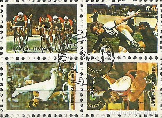 Sellos: UMM AL QIWAIN - 1973 - BLOQUE DE 16 SELLOS DE LA OLIMPIADA DE MUNICH 1972 - SELLADO - Foto 4 - 236418620