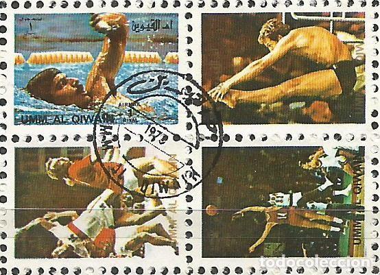 Sellos: UMM AL QIWAIN - 1973 - BLOQUE DE 16 SELLOS DE LA OLIMPIADA DE MUNICH 1972 - SELLADO - Foto 5 - 236418620