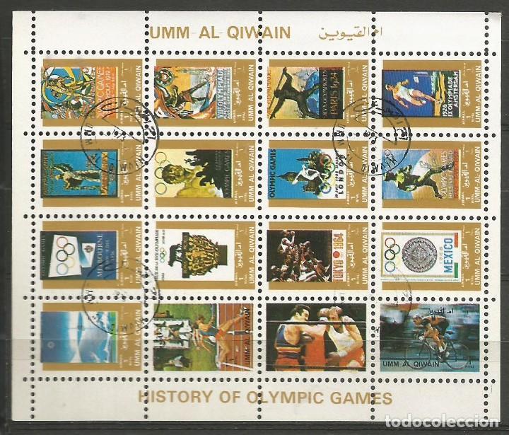 UMM AL QIWAIN - 1973 - BLOQUE DE 16 SELLOS DE HISTORIA DE LOS JUEGOS OLIMPICOS - SELLADO (Sellos - Temáticas - Olimpiadas)