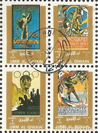 Sellos: UMM AL QIWAIN - 1973 - BLOQUE DE 16 SELLOS DE HISTORIA DE LOS JUEGOS OLIMPICOS - SELLADO - Foto 2 - 236419720