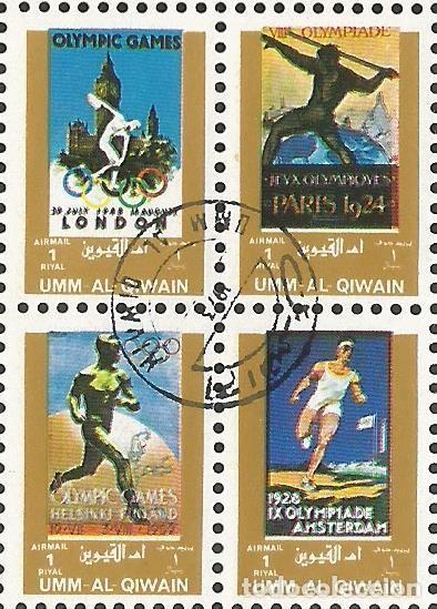 Sellos: UMM AL QIWAIN - 1973 - BLOQUE DE 16 SELLOS DE HISTORIA DE LOS JUEGOS OLIMPICOS - SELLADO - Foto 3 - 236419720