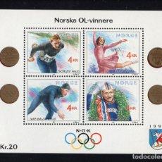 Sellos: NORUEGA HB 14** - AÑO 1990 - JUEGOS OLIMPICOS DE INVIERNO DE LILLEHAMMER. Lote 236606720