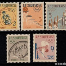 Sellos: ALBANIA 626/30** - AÑO 1963 - JUEGOS OLIMPICOS DE TOKIO. Lote 268169929