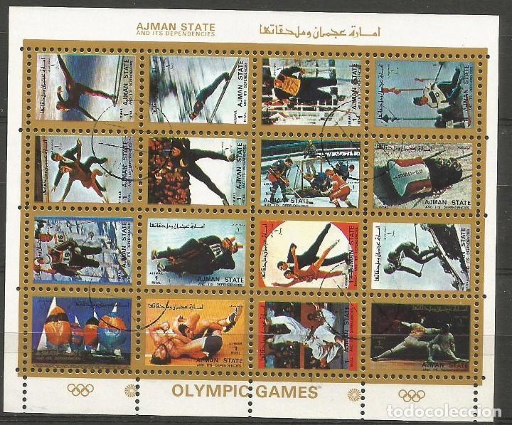 AJMAN STATE - 1973 - BLOQUE DE 16 SELLOS DE LOS JUEGOS OLIMPICOS - SELLADO (Sellos - Temáticas - Olimpiadas)