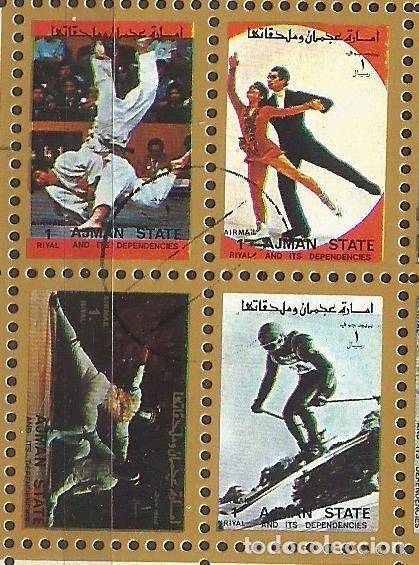 Sellos: AJMAN STATE - 1973 - BLOQUE DE 16 SELLOS DE LOS JUEGOS OLIMPICOS - SELLADO - Foto 2 - 237580750