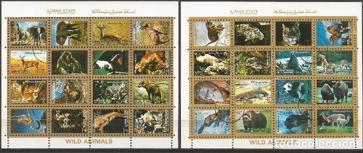 AJMAN STATE - 1973 - 2 BLOQUES DE CADA 16 SELLOS DE ANIMALES SALVAJES - 1973 - SELLADO (Sellos - Temáticas - Olimpiadas)