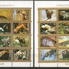 Sellos: AJMAN STATE - 1973 - 2 BLOQUES DE CADA 16 SELLOS DE ANIMALES SALVAJES - 1973 - SELLADO. Lote 237659515