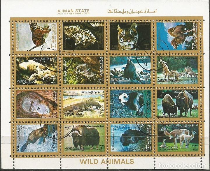 Sellos: AJMAN STATE - 1973 - 2 BLOQUES DE CADA 16 SELLOS DE ANIMALES SALVAJES - 1973 - SELLADO - Foto 2 - 237659515