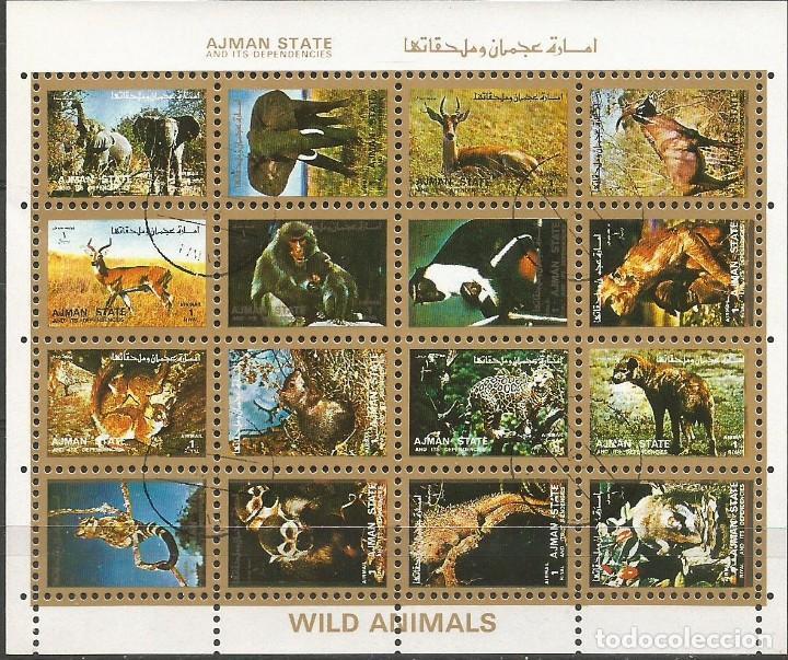 Sellos: AJMAN STATE - 1973 - 2 BLOQUES DE CADA 16 SELLOS DE ANIMALES SALVAJES - 1973 - SELLADO - Foto 3 - 237659515
