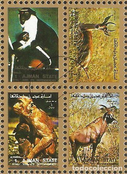 Sellos: AJMAN STATE - 1973 - 2 BLOQUES DE CADA 16 SELLOS DE ANIMALES SALVAJES - 1973 - SELLADO - Foto 5 - 237659515