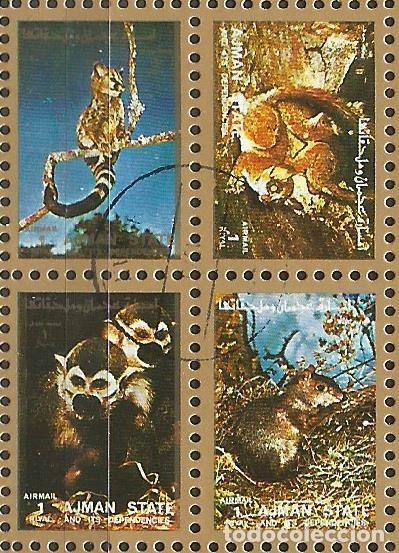 Sellos: AJMAN STATE - 1973 - 2 BLOQUES DE CADA 16 SELLOS DE ANIMALES SALVAJES - 1973 - SELLADO - Foto 6 - 237659515