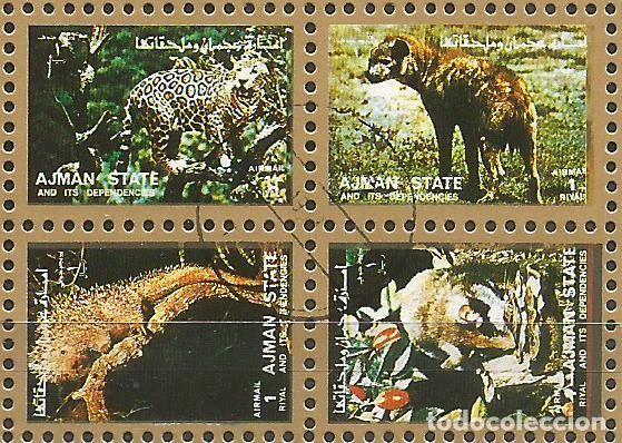 Sellos: AJMAN STATE - 1973 - 2 BLOQUES DE CADA 16 SELLOS DE ANIMALES SALVAJES - 1973 - SELLADO - Foto 7 - 237659515