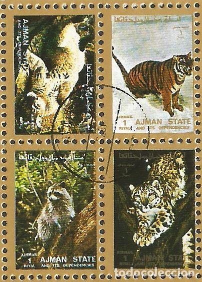 Sellos: AJMAN STATE - 1973 - 2 BLOQUES DE CADA 16 SELLOS DE ANIMALES SALVAJES - 1973 - SELLADO - Foto 8 - 237659515