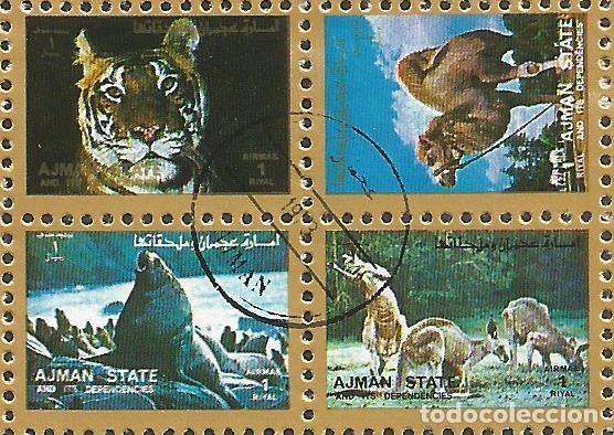 Sellos: AJMAN STATE - 1973 - 2 BLOQUES DE CADA 16 SELLOS DE ANIMALES SALVAJES - 1973 - SELLADO - Foto 9 - 237659515