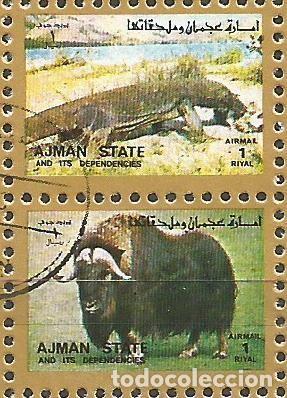 Sellos: AJMAN STATE - 1973 - 2 BLOQUES DE CADA 16 SELLOS DE ANIMALES SALVAJES - 1973 - SELLADO - Foto 11 - 237659515