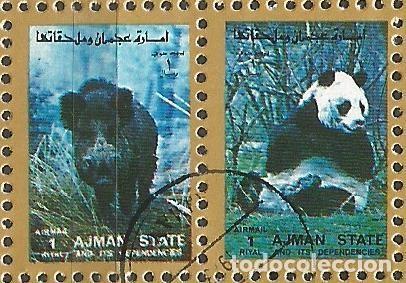 Sellos: AJMAN STATE - 1973 - 2 BLOQUES DE CADA 16 SELLOS DE ANIMALES SALVAJES - 1973 - SELLADO - Foto 12 - 237659515