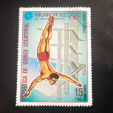 Sellos: GUINEA ECUATORIAL 1972.JUEGOS OLÍMPICOS. MUNICH 72. SALTOS DE TRAMPOLÍN. USADO. Lote 239911960