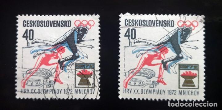 2 SELLOS, CHECOSLOVAQUIA, JUEGOS OLIMPICOS, MUNICH 1972 (Sellos - Temáticas - Olimpiadas)