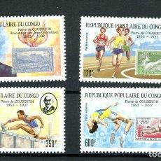 Sellos: CONGO 1987 AÉREO IVERT 375/8 *** 50º ANIVERSARIO MUERTE PIERRE COURBERIN - RENOVADOR JUEGOS OLÍMPICO. Lote 243435645