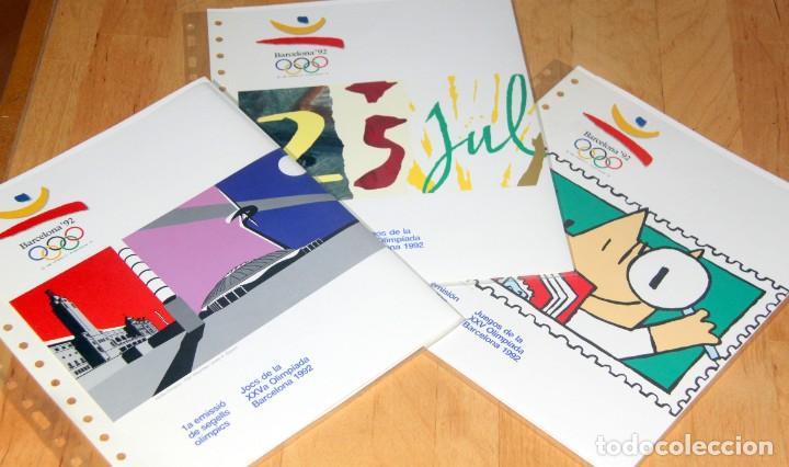BARCELONA 92-3 EMISIONES SERIES OLIMPICAS: LITOGRAFIAS + PRUEBAS ARTISTA NUMERADAS+SELLOS Y TARJETAS (Sellos - Temáticas - Olimpiadas)