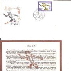Sellos: FDC EMISION OFICIAL XXII OLIMPIADA MOSCU 1980 DISCUS. Lote 243758635