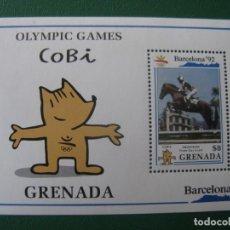 Sellos: *GRENADA, HOJITA BLOQUE JUEGOS OLIMPICOS BARCELONA-92, COBI. Lote 243917320