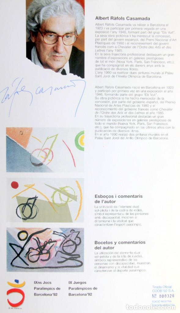 Sellos: Barcelona 92-SERIE Paralimpica: LITOGRAFIAS + Pruebas Artista Numeradas RAFOLS CASAMADA - Foto 2 - 243507505
