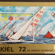 Sellos: GUINEA ECUATORIAL - JJOO DE MUNICH 72 - SEDE DE KIEL - VELA - HOJITA BLOQUE. Lote 244435545