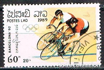 LAOS Nº 915, CICLISMO, JUEGOS OLIMPICOS DE BARCELONA 92, USADO (Sellos - Temáticas - Olimpiadas)