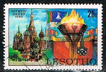 LESHOTO IVERT Nº 395, JUEGOS OLÍMPICOS DE MOSCÚ, USADO (Sellos - Temáticas - Olimpiadas)