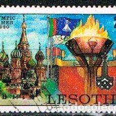 Sellos: LESHOTO IVERT Nº 395, JUEGOS OLÍMPICOS DE MOSCÚ, USADO. Lote 245624655