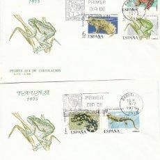 Sellos: EDIFIL 2272/6, FAUNA HISPANICA 1975, PRIMER DIA DE 9-7-1975 EN 2 SOBRES DEL SFC. Lote 246928160