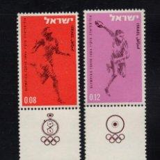 Sellos: ISRAEL 255/58** - AÑO 1964 - JUEGOS OLÍMPICOS DE TOKIO - FÚTBOL - BALONCESTO - ATLETISMO. Lote 268169984