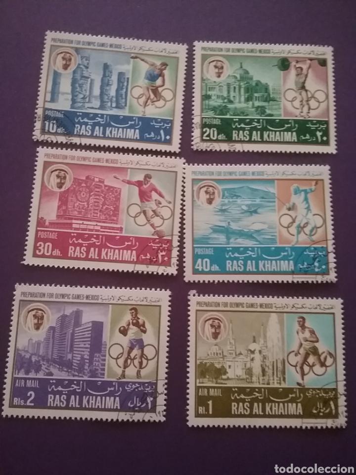SELLO RAS AL KHAIMA MTDO(+/- S. BISAGRA)/1967/JUEGO/OLLIMPIADA/MEXICO/DEPORTE/ARQUITECTURA/ARTE/RUIN (Sellos - Temáticas - Olimpiadas)