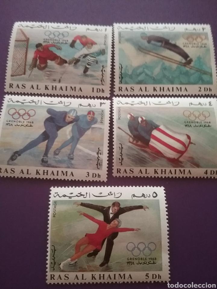 SELLO RAS AL KHAIMA MTDO(+/- S. BISAGRA)/1967/JUEGO/OLIMPIADA/INVIERNO/GRENOBLE/FRANCIA/PATINAJE/SAL (Sellos - Temáticas - Olimpiadas)