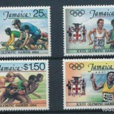 Sellos: JAMAICA 1984 IVERT 598/601 *** JUEGOS OLÍMPICOS DE LOS ANGELES - DEPORTES. Lote 267243699
