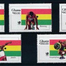 Sellos: GHANA 1989 IVERT 973/7 *** GANADORES DE LOS JUEGOS OLÍMPICOS DE SEÚL - DEPORTES. Lote 267591824