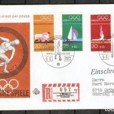 Sellos: ALEMANIA FEDERAL. FDC. SPIELE. OLIMPIADA MÜNCHEN 1972. Lote 268737934