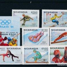 Sellos: NICARAGUA 1983 IVERT 1282/5 AÉREO 1030/2 Y HB 161 *** JUEGOS OLIMPICOS INVIERNO SARAJEVO - DEPORTES. Lote 269058263