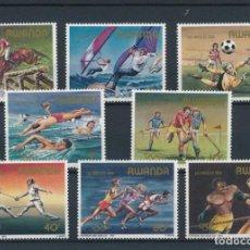 Sellos: RWANDA 1984 IVERT 1149/56 *** JUEGOS OLIMPICOS DE LOS ANGELES - DEPORTES. Lote 269058718