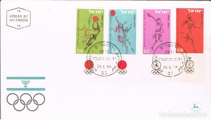 ISRAEL IVERT Nº 255/8, JUEGOS OLIMPICOS DE TOKIO, PRIMER DIA DE 24-6-1964, SELLOS CON TAB (Sellos - Temáticas - Olimpiadas)