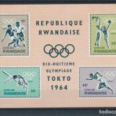 Sellos: RWANDA 1964 HB IVERT 2 *** JUEGOS OLÍMPICOS DE TOKIO - DEPORTES. Lote 272373928