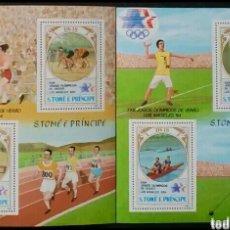 Sellos: OLIMPIADAS LOS ÁNGELES 1984, 2 HOJAS BLOQUE DE SELLOS NUEVOS DE ST. TOMÉ Y PRÍNCIPE. Lote 276316903